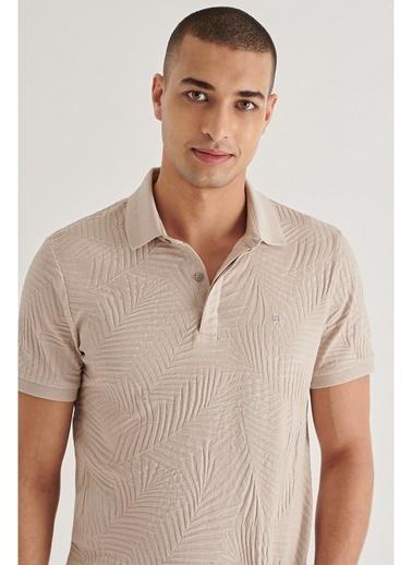Avva Erkek Polo Yaka Gizli Patlı Jakarlı T-Shirt A11Y1103 Bej